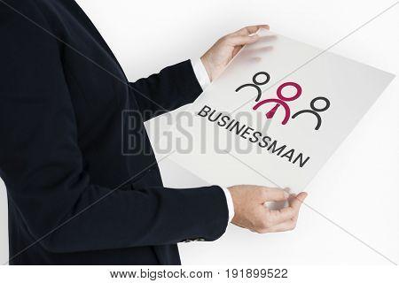 Businessman with illustration of leadership business organization