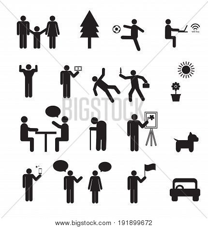 Sign of people life set.family group work human pictograms on white.General people sign vector.