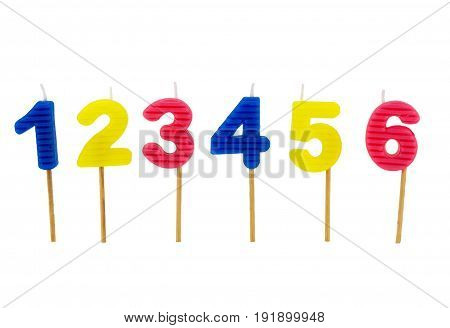 Number birthday candles isolated on white background
