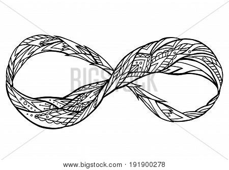 Black and white illustration of the sign of eternity with a boho pattern. Doodle element for print on a T-shirt sketches of tattoo invitations and your creativity. Coloring for Adult