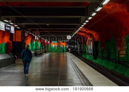 STOCKHOLM, SWEDEN - JUNE 27, 2016: This is interior of the Solna-Centrum subway station.
