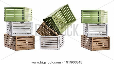Multicolored boxes of wooden slats on a white background