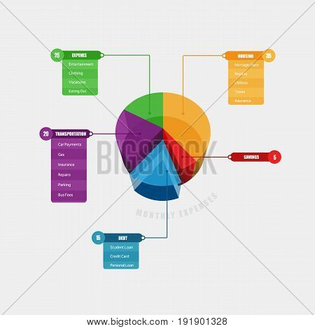 Colorful 3D chart info graphic with title menu bar and list tab bar.