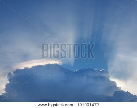 Sun shines through the rain clouds, Before became rainstorm (storm, rain clouds,sky)