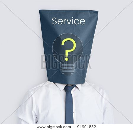 Network connection graphic overlay background on bag on head