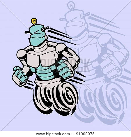robot cartoon character . Vector Illustration design