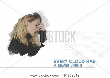 Every Cloud Has a Silver Lining Word on Stressed Woman Background
