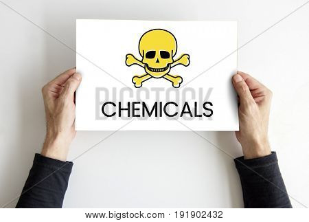 Hands holding placard skull icon and toxin dangerous word poster