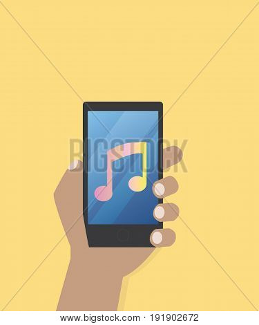 Hand with music icon on mobile phone vector illustration Hand hold smart phone screen with music application and music life style concept