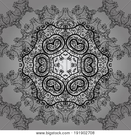 Seamless dim textured curls. Vector dim pattern. Vector illustration. Gray background with dim elements. Oriental style arabesques.