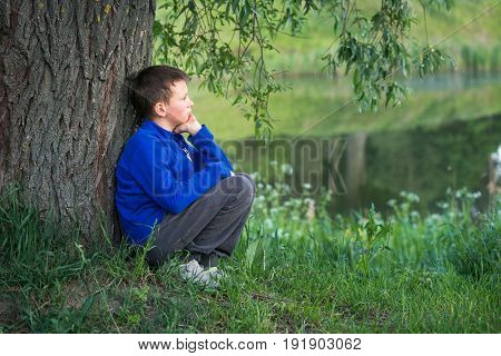 The Boy Is Sitting By The Big Tree.