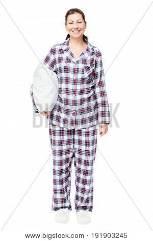 Happy Woman In Pajamas With A Pillow In Full Length Ready To Sleep Isolated