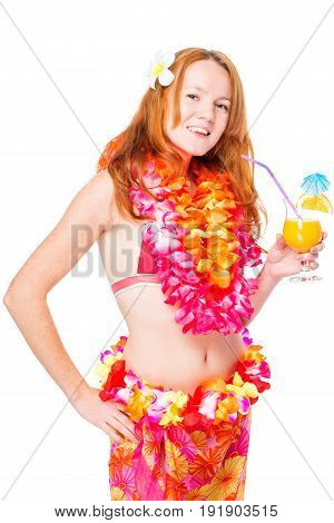 Happy Girl With Red Hair With A Cocktail On A White Background