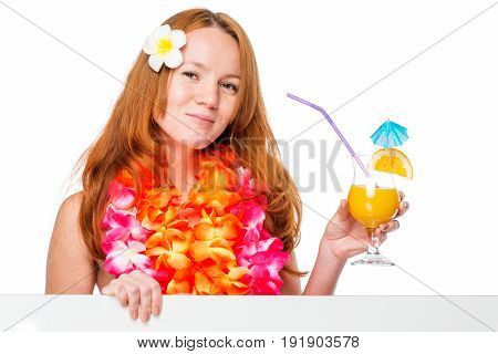 Pretty Red-haired Girl With Flowers In The Poster And Cocktail Hair Posing