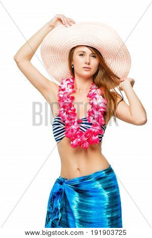 Young Girl In Clothes For Hawaiian Party Posing In Studio