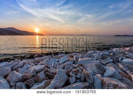 Sunset in Limenas harbour. Island of Thassos Greece