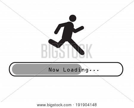 Sign man running on loading bar vector
