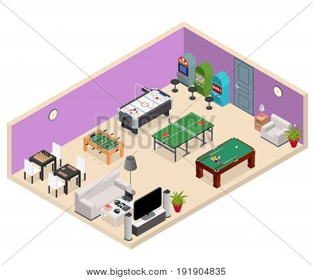 Interior Game Room Isometric View with Furniture and Equipment Design Leisure Concept. Vector illustration