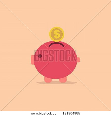 Pig bank with coin vector icon in simple style.Saving money concept.Vector illustration.