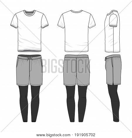 Vector templates of clothing set. Front, back, side views of blank t-shirt, sports shorts, jogging pants. Shirt with raglan sleeves. Sportswear, uniform clothes. Fashion illustration.