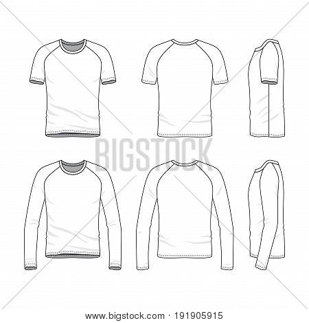 Vector templates of clothing set. Front, back, side views of blank raglan sleeves t-shirt and tee. Sportswear, uniform clothes. Fashion illustration. Line art design.