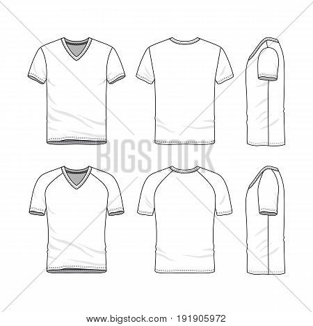 Vector templates of clothing set. Front, back, side views of blank v-neck t-shirt. Sportswear, uniform clothes. Fashion illustration. Line art design.