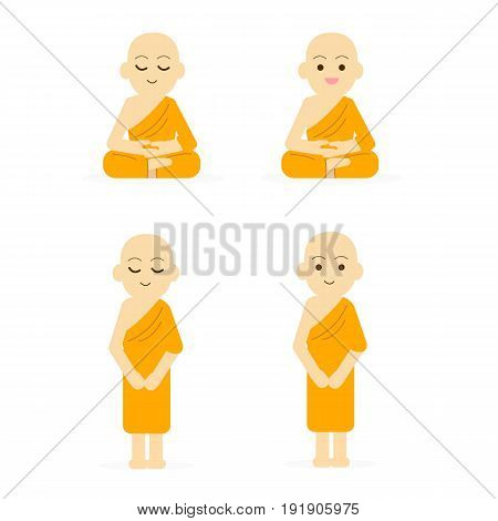 Monk cartoon set peaceful isolated white background.Buddha character set vector illustration