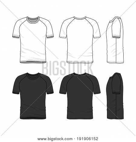 Vector templates of clothing set. Front, back, side views of blank t-shirt. Shirt with raglan sleeves. Sportswear, uniform clothes. White and black colors variations. Fashion illustration.
