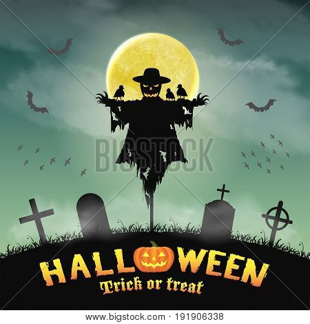 a halloween silhouette scarecrow in night graveyard