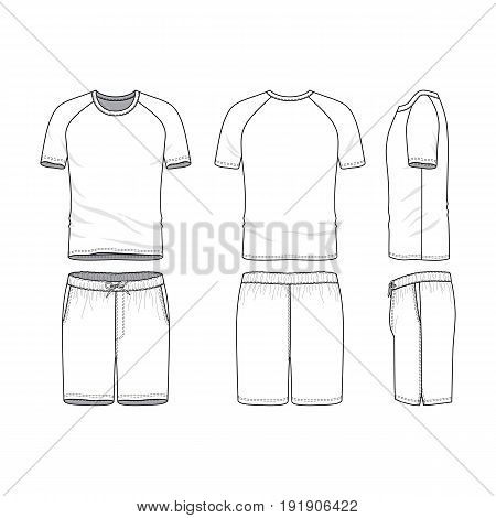 Vector templates of clothing set. Front, back, side views of blank t-shirt with raglan sleeves and shorts. Sportswear, uniform clothes. Fashion illustration. Line art design.