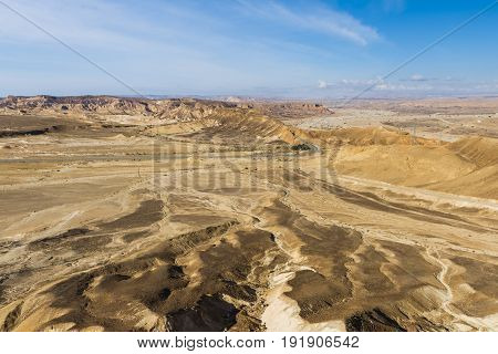 The highway passes through desert areas of the Negev desert in southern Israel.