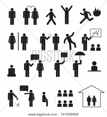 Sign of people life set.businessman group work human pictograms on white.General people sign vector.