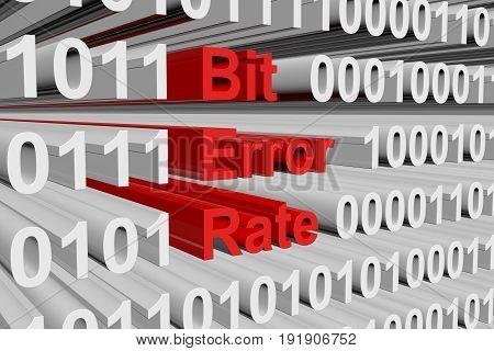 Bit error rate in a binary code 3D illustration