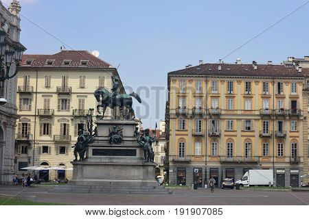Turin, Piazza Carlo Alberto, with the equestrian monument at its center