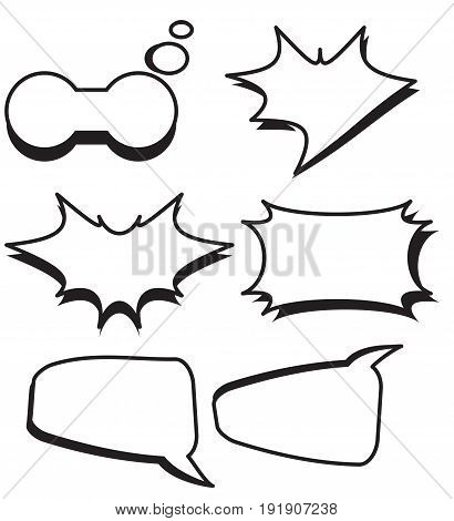 Cartoon bubbles text boxes set with blank text speech vector illustration.Set of comic chat bubbles.