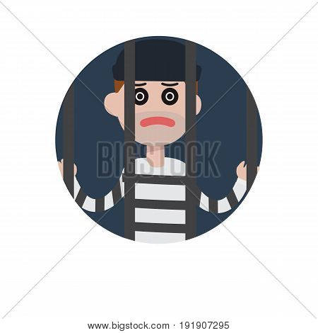 Flat thief man character in jail. Vector flat cartoon illustration