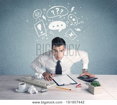 A confused office worker in trouble  making silly face using magnifying glass with illustrated question mark bubbles concept
