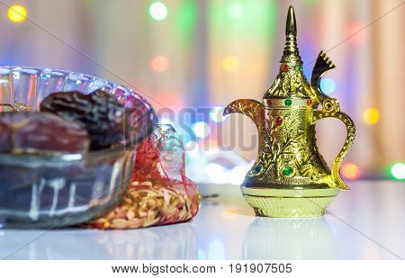Date fruits in glass bowl - Ramadan, Eid Concept background