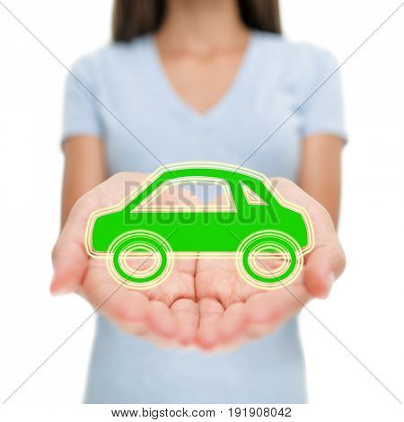 Green car insurance woman showing open hands. Eco friendly environment electric hybrid auto insurance concept.