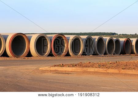 Concrete drain pipes stack. Used for canalization