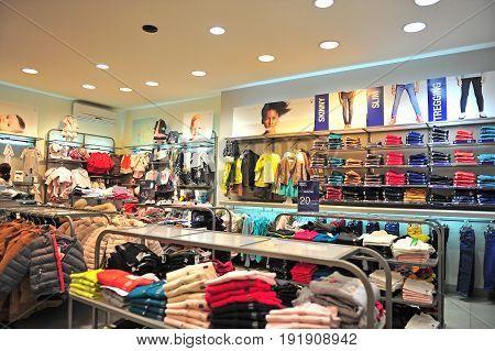 BATUMI GEORGIA - OCTOBER 1: Interior of a shop of kids clothes on October 1 2016.