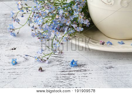 Flower Tea, Forget-me-nots, Leaves And Flowers On A Wooden Background