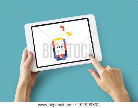 8 bit illustration of mobile phone communication icon