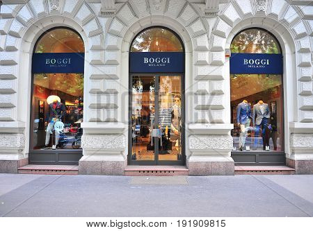BUDAPEST HUNGARY - JUNE 4: Facade of Boggi Milano flagship store in the street of Budapest on June 4 2016.