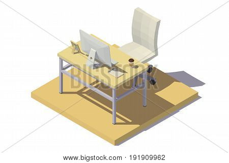Vector isometric low poly Office Workplace in beige tones.