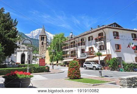PRE SAINT DIDIER ITALY - JUNE 26: View of the street in town centre of Pre Saint Didier on June 26 2015. Pre Saint Didier is a resort in Val d'Aosta located in italian Alps.