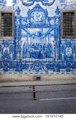 Porto Portugal - December 8 2016: Azulejo tilework of Chapel of Souls (Capela das Almas) in Porto city