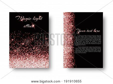 Bling background with light flare. Star glow on a black backdrop.