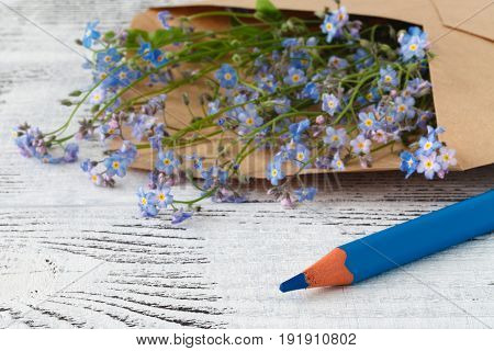 Love Letters And Forget Me Not Flowers.