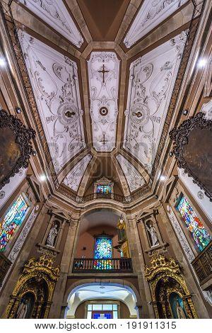 Porto Portugal - December 9 2016: Nave of Saint Ildefonso Church in Porto city
